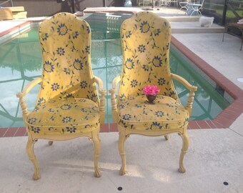 YELLOW TALL BACK Arm Chairs / Pair of Yellow and Blue Tall Hollywood Regency Chairs / Metal Handle on Back / Retro Style at Retro Daisy Girl