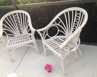 RATTAN BAMBOO BARREL CHAIRs / McGuire Style Rattan Chair / One Chair / Palm Beach Chic Chair / Bohemian Cottage Style at Retro Daisy Girl