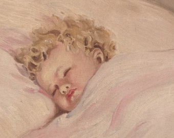 Shhhh BABY SLEEPING Vintage Oil Painting of Sleeping Baby Girl Vintage Frame 24 Inches Shabby Chic Cottage Style at Retro Daisy Girl