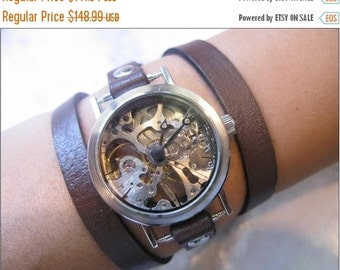 Exposed Gears Skeleton Wrist Watch ,Unisex Fashion ,Steampunk  Leather Wristband ,Wrap Style ,Silver or Gold ,Holiday Gift,women watches