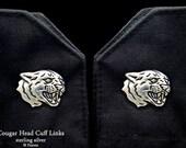 Cougar Head Cuff Links Sterling Silver Puma Mountain Lion Cuff Links