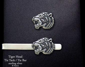 Tiger Head Tie Tack or Tiger Head Tie Bar / Tie Clip Sterling Silver