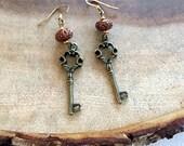 Bronze Key Dangle Earrings, Key Earrings