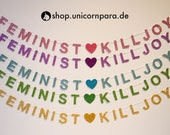 "Ready To Ship ""Feminist Killjoy"" Mini Glitter Banners, Pink Purple Blue Green Gold"