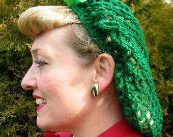 Hand Crocheted 1940s Pin-Up Vintage Style Snood Black with Satin Bow Available in Black, White, Red, Green or Purple!