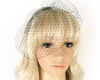 Black Birdcage Veil- French Diamond Netting Veil- Wedge Birdcage Veil with 4 Inches Loose