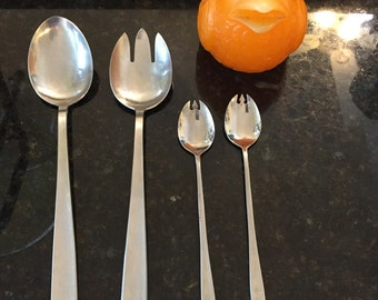 Made in Sweden DANISH MODERN SALAD Servers Plus! Mid Century Modern, 4 Pieces In All at Modern Logic