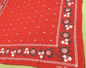 1930's Elephant Trunk Down Black Rose Border red Bandana 19.5 x 20.25 Fast Color all Cotton double selvedge simple Flowers #35