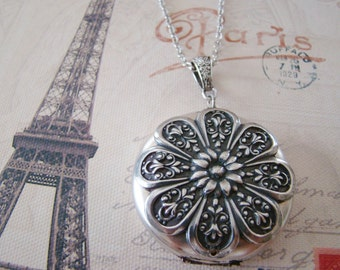 Silver Locket Wedding Bride Bridesmaid Wife Large Mother Birthday Gift Sister Daughter Necklace Photo Pictures - Katrina