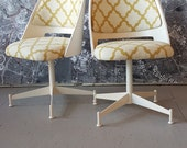 Mid Century pair chairs vintage MCM newly upholstered and painted