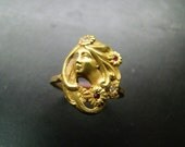 Special Order: 14k gold Art Nouveau style ring with diamonds and rubies Size 7.5