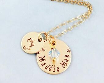 Gold Name Necklace - Little Girl Jewelry - Personalized Jewelry Hand Stamped - Charm Necklace - Swarovski Birthstone Crystal - Mommy Jewelry