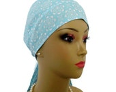 Scrub Skull Cap White Flowers On Powder Blue   Lightweight Great For Chemo Patient   Or Nurse Graduation Gift   Surgical Scrub Cap