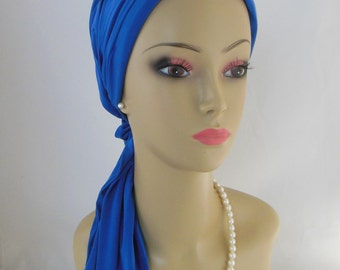 "Jersey Scarf Turban: Blueberry Blue 14"" Ties