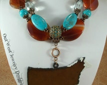 Cowgirl Necklace Set - Chunky Orange Agate with Aqua Howlite Turquoise - Hereford Show Steer Pendant