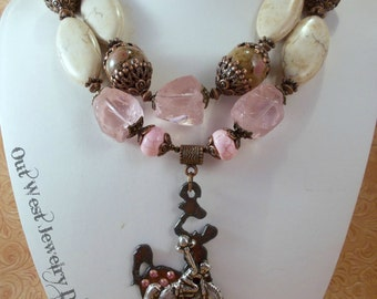 Cowgirl Necklace Set - Chunky Pink and White Howlite Turquoise - Wyoming Bucking Horse Pendant