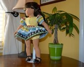 """18 Inch Doll """"School Print"""" Dress and Yellow Gingham Panties by SEWSWEETDAISY"""