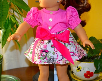 18 Inch Doll Clothes Two Piece Outfit Cotton Pink Paisley Print Circular Skirt and Bright Pink Short Sleeve Blouse by SEWSWEETDAISY
