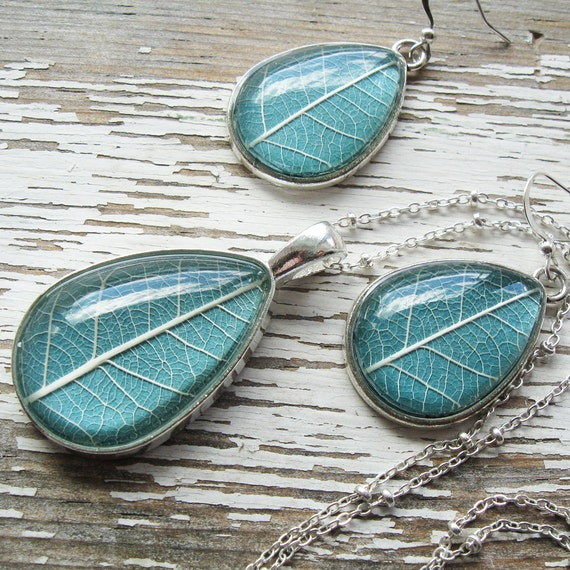 Real Leaf Necklace and Earring Set - Slate and Silver Botanical Jewelry Set