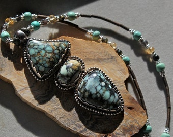 SALE - 7 dwarfs turquoise necklace and earring set by EvyDaywear