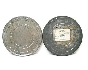 Two Vintage Film Canisters /Movie Reel Cases (c.1960s) for Industrial Decor or Storage / Great Gift for a Camera Buff