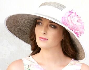Wedding hat, Taupe & White Hat, Kentucky Derby Hat, Pink Flower Hat, Church Hat, Formal hat Tea Party Hat, Garden Party Hat, Formal Hat