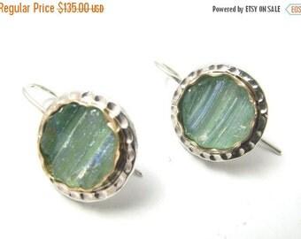 Hand Made Roman Glass 925 Sterling Silver Goldfield Earrings