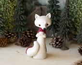 Arctic Fox Figurine with a Maroon Stockinette Scarf by Bonjour Poupette