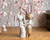 Bunny Rabbit Wedding Cake Topper by Bonjour Poupette