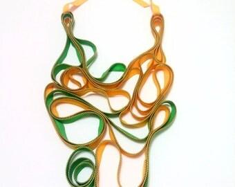 Zipper Textile Handmade Yellow Green Gold Zippers Statement Oversize Necklace