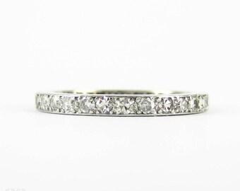 Art Deco Diamond Eternity Ring, Full Hoop Platinum Set Wedding Ring, 0.80 ctw. Circa 1910s, Size L.25 / 6.