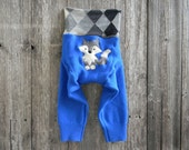 LARGE  Upcycled  Wool Longies Soaker Cover Diaper Cover With Added Doubler Blue / Gray Argyle With Wolf  Applique LARGE 12-24M