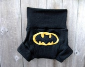 Upcycled Merino Wool Soaker Cover Diaper Cover With Added Doubler Black  With Batman Applique LARGE 12-24M Kidsgogreen