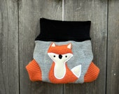 Upcycled Wool  Soaker Cover Diaper Cover With Added Doubler Grya/ Black/ Orange  With Fox Applique NEWBORN 0-3M Kidsgogreen