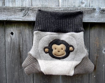 Upcycled Wool Soaker Cover Diaper Cover With Added Doubler Brown Stripes With Monkey  Applique LARGE 12-24M