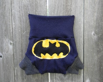 Upcycled  Merino Wool Soaker Cover Diaper Cover With Added Doubler Navy Blue/ Charcoal Gray  With Batman Applique SMALL 3-6M Kidsgogreen