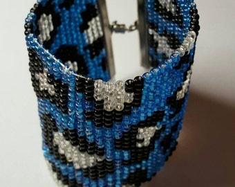 Blue Black & Silver Leopard Print Cuff Bracelet