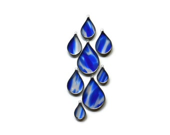 Stained Glass Raindrops - Set of 8 in Blue & White Rain Suncatchers