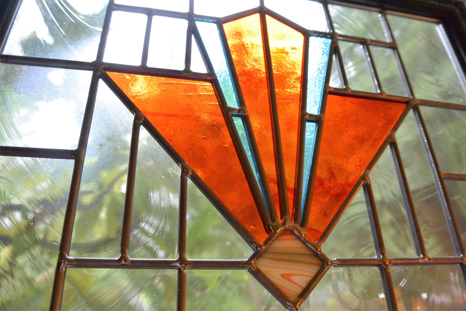 stained glass framed panel deco window in turquoise and
