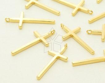 PD-1376-GD / 2 Pcs - Skinny Cross Pendant, Plain Cross, Modern Cross, Simple Cross, Gold Plated over Brass / 9mm x 20mm