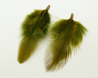 FT-038-OG / 2 pcs - Rooster Hackles Feather Pendant, Handmade Olive Green Feather Charm, Natural Bohemian Plume Pendant / 70mm