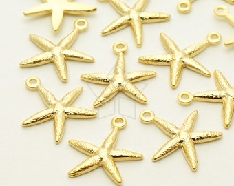 PD-1191-MG / 4 Pcs - Tiny Sea Star Starfish Charm Pendant, Matte Gold Plated over Pewter / 12mm x 13.7mm