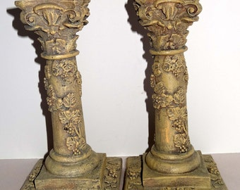Made of Resin Candle Holder Pair Tan with Grape Motif Home and Garden Decor Candle Holders