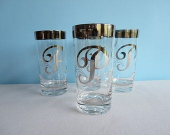 Vintage Glassware Monogrammed with P - Set of 4 - Tall Tumblers - Vintage Barware - Highball Glasses