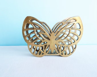 Vintage Brass Butterfly Napkin Holder