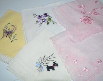 Lovely Hankies x 5 - beautiful condition - pretty hankerchief s - vintage - scotty dog