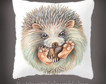 "Pillow..PRINT art.. animal art - woodland art - fine art -living room - childrens room - nursery - babies - """" Hedgehogball"""""