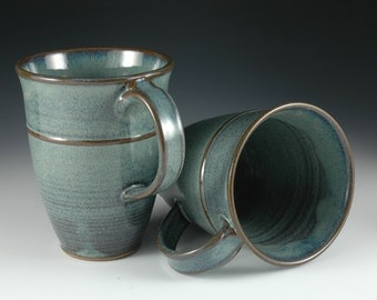 One - 12 oz Blue Coffee / Tea Mug - Wheel Thrown Stoneware Pottery