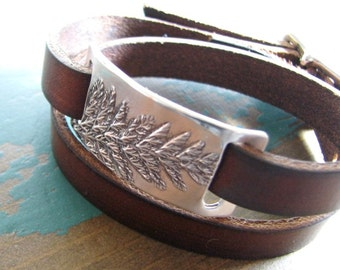 Yarrow Wrap Bracelet, Double Wrap Brown Leather with Fine Silver, Adjustable, Natural Plant Impressions, Handmade by SilverWishes