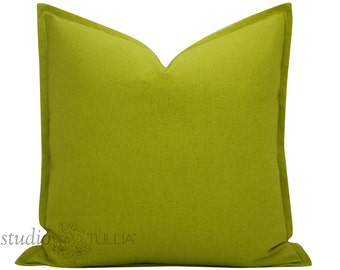 Chartreuse Linen Pillow Cover with Flange - 18 inch cover - linen pillow cover - green linen - decorative pillow cover - ready to ship